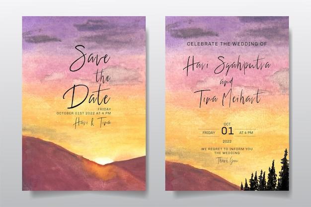 Zaproszenie na ślub z akwarela krajobraz zachód słońca