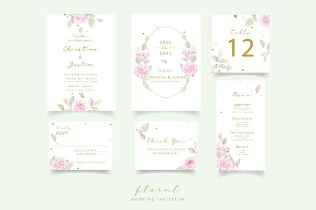 Zaproszenie na ślub z akwarela kwiatowy róż