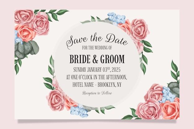 Zaproszenie na ślub z akwarela kwiatowy wzór