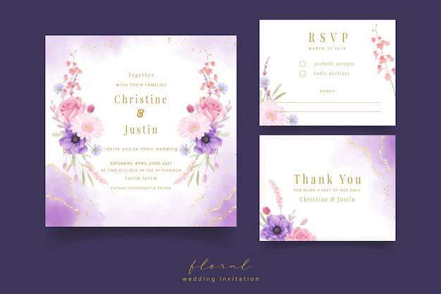 Zaproszenie na ślub z akwarela kwiaty róży, anemonu i gerbera