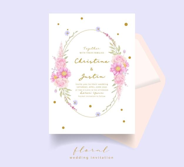 Zaproszenie na ślub z akwarela róże i anemonowe kwiaty