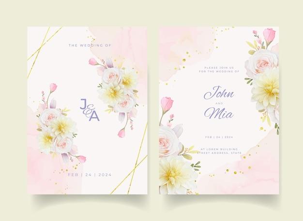 Zaproszenie na ślub z akwarela róże lilia i kwiat dalii