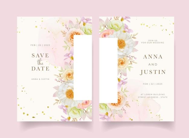 Zaproszenie na ślub z akwarela róże piwonia i kwiat jaskier