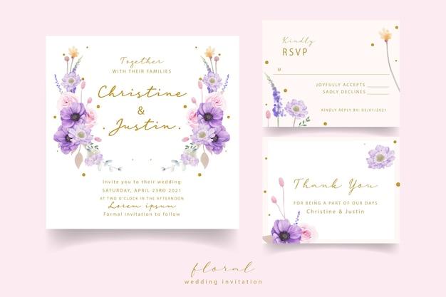 Zaproszenie na ślub z akwarela róże