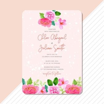 Zaproszenie na ślub z akwarela różowa granica kwiatowy