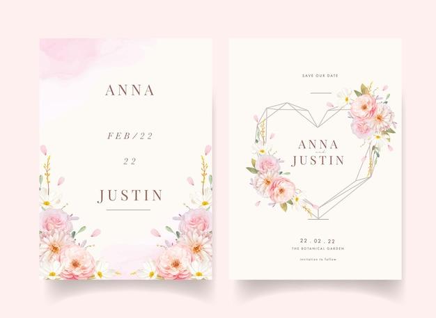 Zaproszenie na ślub z akwarela różowe róże i dalia