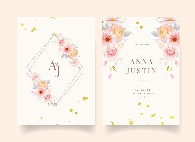 Zaproszenie na ślub z akwarela różowe róże i kwiat jaskier