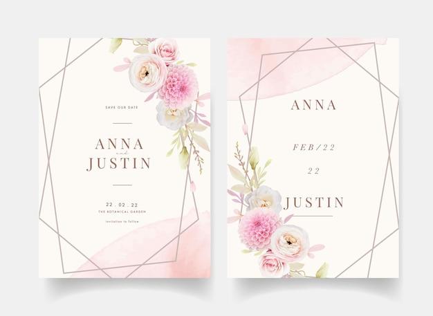 Zaproszenie na ślub z akwarela różowe róże jaskier i dalia