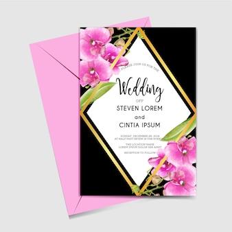 Zaproszenie na ślub z akwarela różowy storczyk