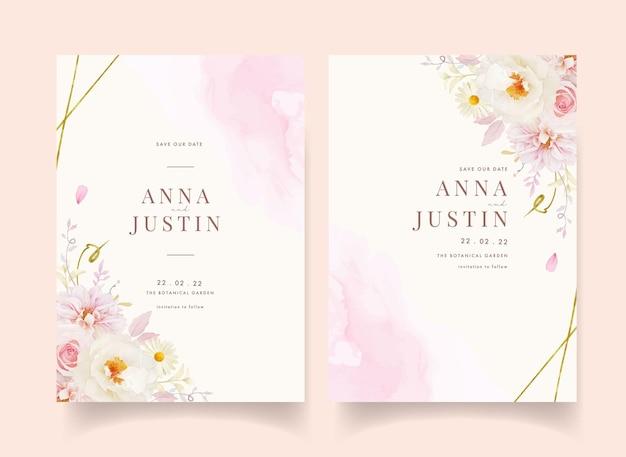 Zaproszenie na ślub z akwarelą różowych róż dalii i białej piwonii