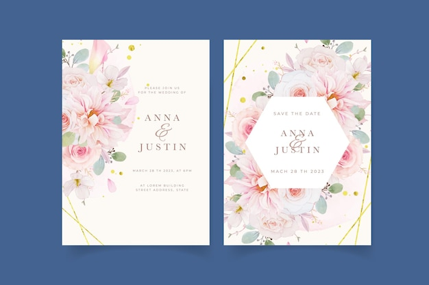Zaproszenie na ślub z akwarelą różowych róż dalii i kwiatem lilii