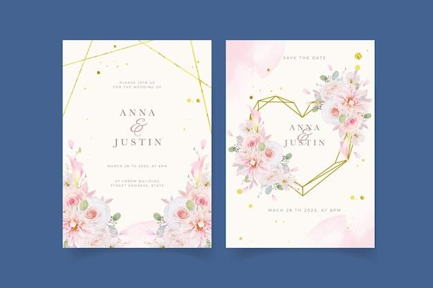Zaproszenie Na ślub Z Akwarelą Różowych Róż Dalii I Kwiatem Lilii Darmowych Wektorów
