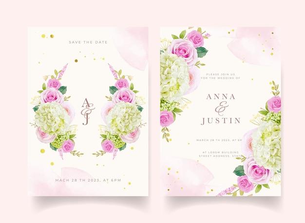 Zaproszenie na ślub z akwarela różowymi różami i hortensją