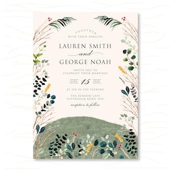 Zaproszenie na ślub z akwarela wiosna krajobraz łąka