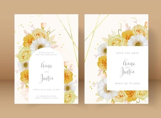 Zaproszenie na ślub z akwarela żółtą różą i białym kwiatem gerberyger
