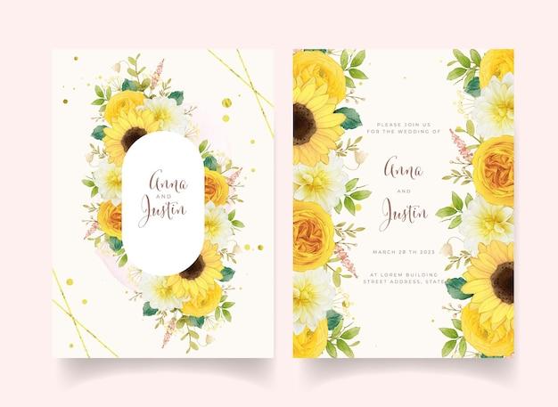 Zaproszenie na ślub z akwarela żółtymi kwiatami