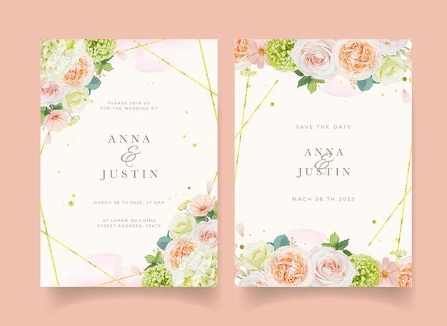 Zaproszenie na ślub z akwarelami brzoskwiniowymi różami i kwiatem hortensji