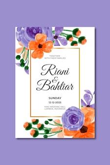 Zaproszenie na ślub z akwarelami niebieskimi pomarańczowymi kwiatami