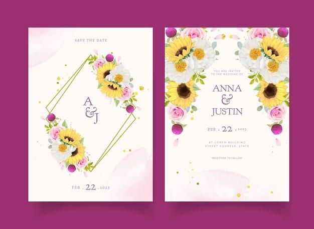 Zaproszenie na ślub z akwarelami różowymi różami i słonecznikiem