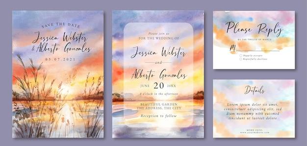 Zaproszenie na ślub z akwareli krajobrazem pięknego zachodu słońca i jeziora