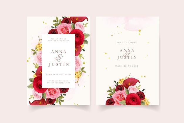 Zaproszenie na ślub z akwarelową czerwoną różą lilią i kwiatem jaskier