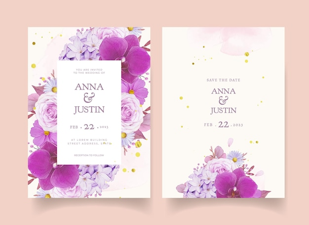 Zaproszenie na ślub z akwarelową fioletową różą i orchideą