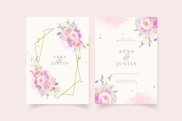 Zaproszenie na ślub z akwarelową różową lilią i kwiatem jaskier