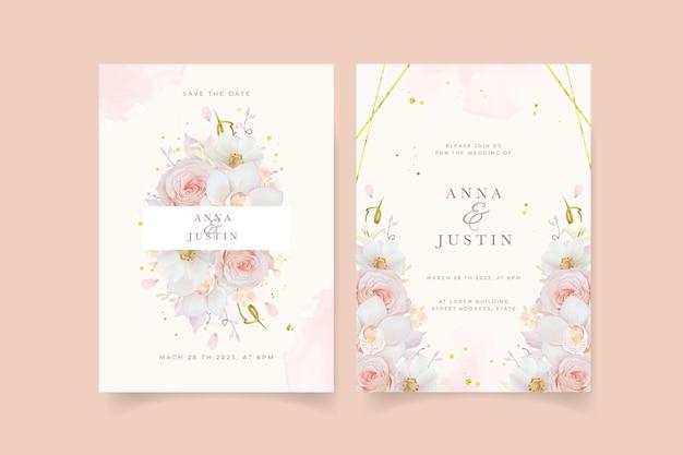 Zaproszenie na ślub z akwarelową różową orchideą i kwiatem anemonu