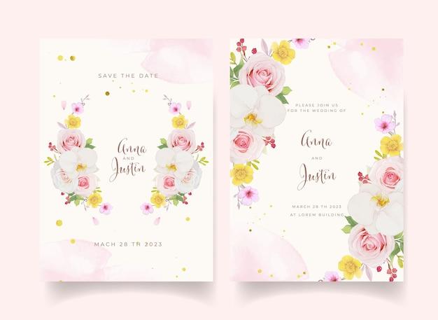 Zaproszenie na ślub z akwarelową różową różą i orchideą