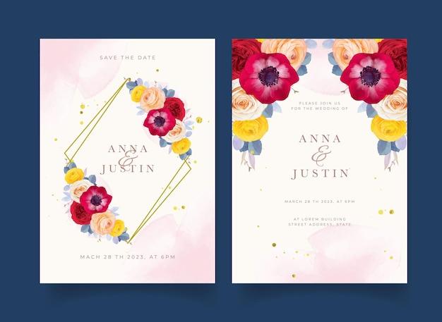 Zaproszenie na ślub z akwarelowym anemonem z czerwonej róży i kwiatem jaskier