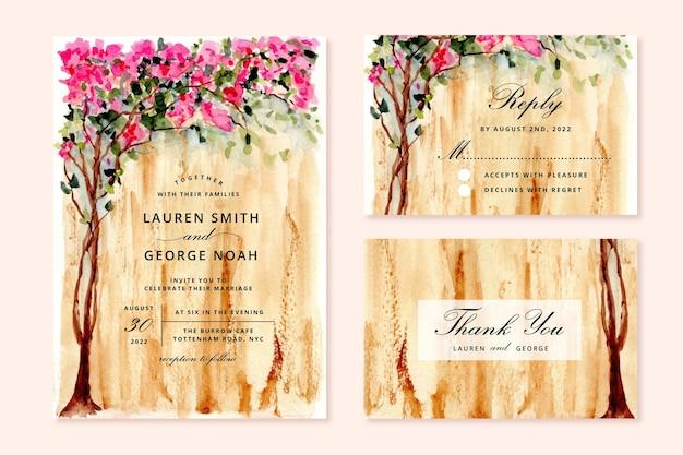 Zaproszenie na ślub z akwarelowym drzewem bugenwilli