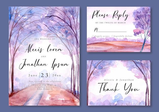 Zaproszenie na ślub z akwarelowym krajobrazem drzew lawendowych
