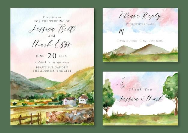 Zaproszenie na ślub z akwarelowym krajobrazem gór i zielonych pól i wzgórz