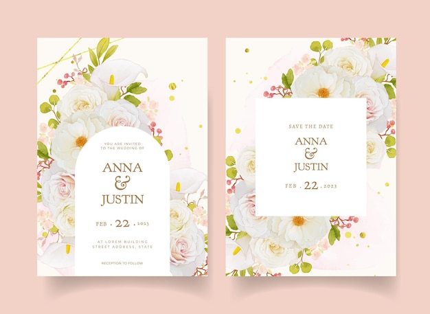 Zaproszenie na ślub z akwarelowymi białymi różami i lilią calla