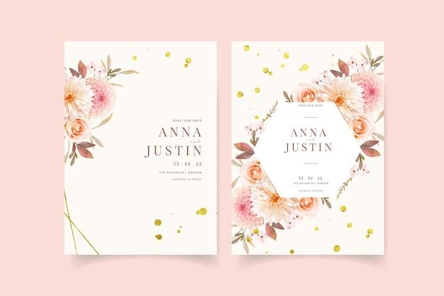 Zaproszenie na ślub z akwarelowymi daliami i różą