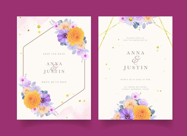 Zaproszenie na ślub z akwarelowymi fioletowymi i żółtymi kwiatami