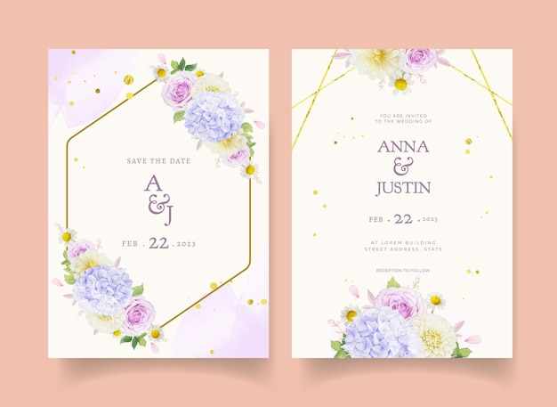 Zaproszenie na ślub z akwarelowymi fioletowymi różami dalii i kwiatem hortensji