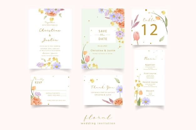 Zaproszenie na ślub z akwarelowymi różami, tulipanami i kwiatami scabiosa