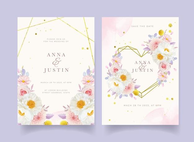 Zaproszenie na ślub z akwarelowymi różowymi różami dalii i kwiatem piwonii
