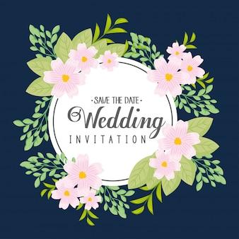 Zaproszenie na ślub z białymi kwiatami i liśćmi