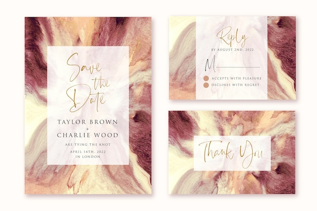 Zaproszenie na ślub z brązowym kremowym abstrakcyjnym wzorem akwareli