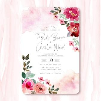 Zaproszenie na ślub z czerwoną różową piękną kwiatową ramą akwarela