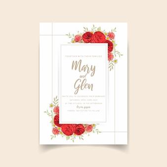 Zaproszenie na ślub z czerwonych róż kwiatowy