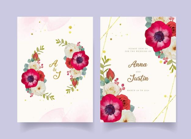 Zaproszenie na ślub z czerwonymi akwarelowymi kwiatami