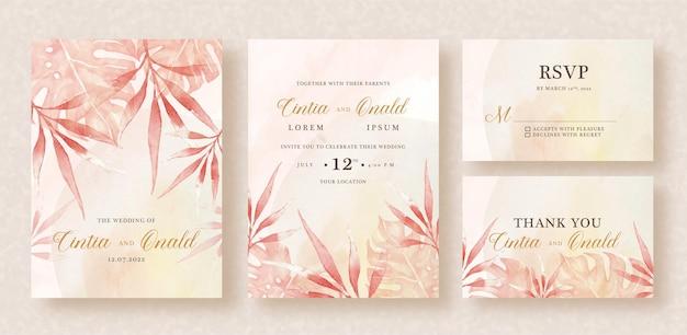 Zaproszenie na ślub z egzotycznymi liśćmi w tle akwarela