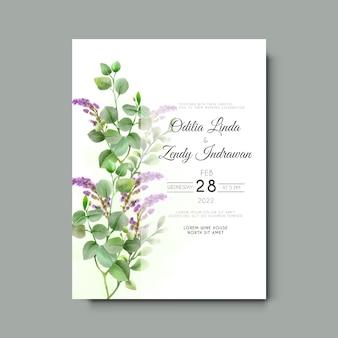 Zaproszenie na ślub z elegancką akwarelą eukaliptusa i lawendy