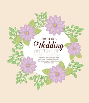 Zaproszenie na ślub z fioletowymi kwiatami i liśćmi
