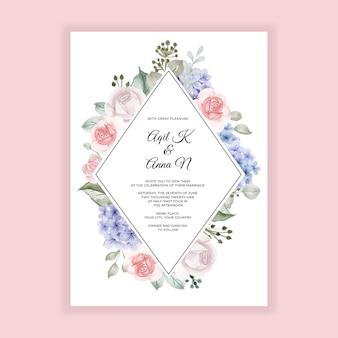 Zaproszenie na ślub z hortensją