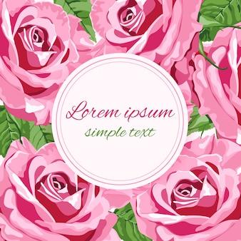Zaproszenie na ślub z jasnymi różowymi różami i okrągłą ramką