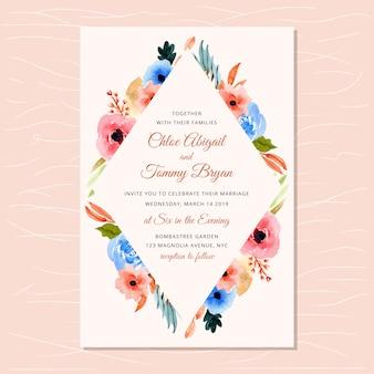 Zaproszenie na ślub z jesień akwarela kwiatowy rama